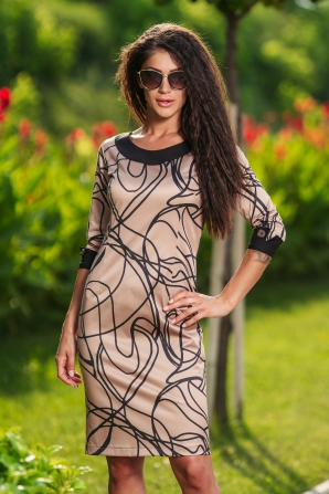 Ladies dress cappuccino color with black stripes Avangard