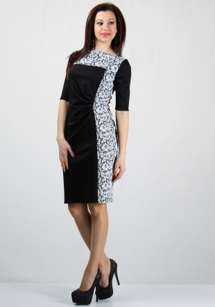 Women's dress with floral jacquard elements RUMENA
