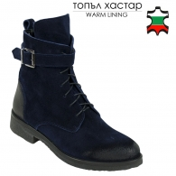 Women's blue suede leather boots with warm lining 32208