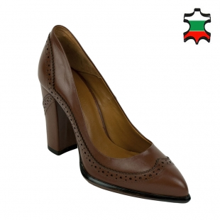 Women's brown leather Oxford pointed shoes 32223