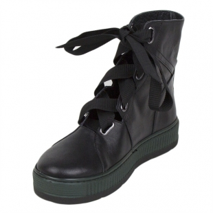 Women's black leather boots with textile ties 20426