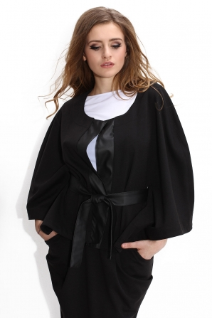 Black coat with leather elements Avangard