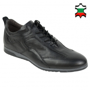 Men's black leather casual shoes with prolongued vision