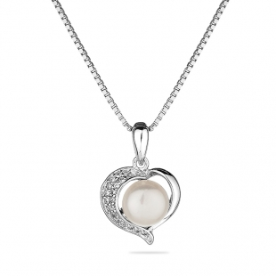 Silver heart pendant necklace with natural white pearl and zircons FN466NW Swan