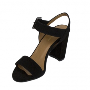 Women's black suede leather sandals with large buckle 17182