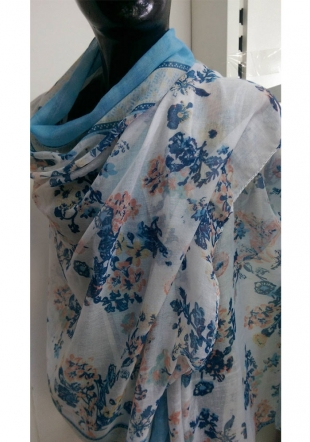 Women's colourful scarf with blue flowers PIMAVERA