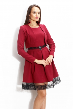 Bolero in burgundy color with long sleeves