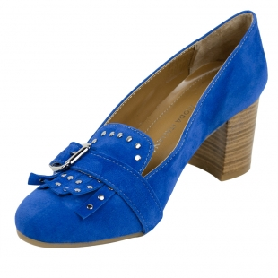 Women's blue leather elegant shoes with fringes