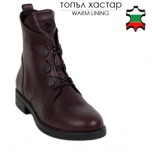 Women's burgundy leather boots 20409