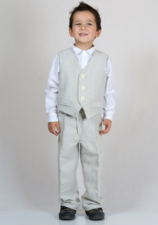 Beige linen Set of Pants and Vest with white shirt  RUMENA