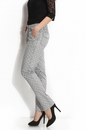 Women's black and white print trousers Avangard