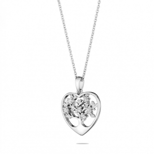 Silver heart and tree of life pendant necklace with zircons END444N Swan