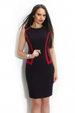Women's black dress with red edges