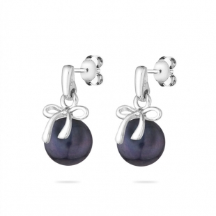 Silver earrings with natural black pearl and ribbon LA875EB Swan