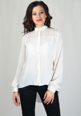 Elegant ecru shirt with lace RUMENA