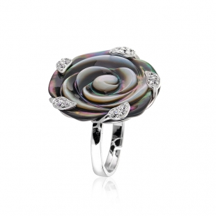 Silver ring made of black mother of pearl and zircons ROSER7/8/9 Swan