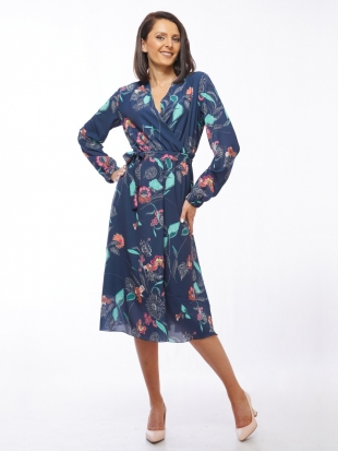 Women's dark blue floral dress with free silhouette 72009-419