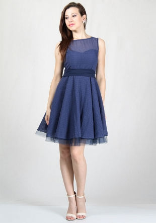 Evening blue dress with figure elements tulle with white belt RUMENA