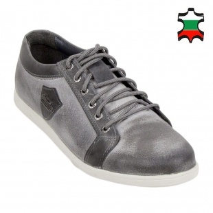Men's grey leather shoes 33706