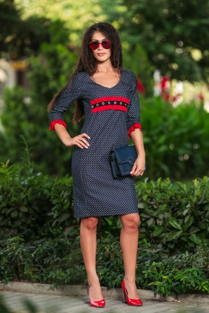 Polka-dot dress with lace decoration Avangard