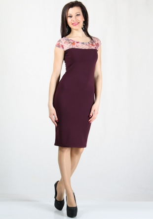 Women's bordeaux dress with flower print tulle RUMENA