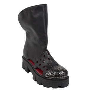 Women's summer boots in black color 21369