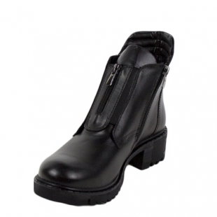Black women's boots with decorative zipper 227black