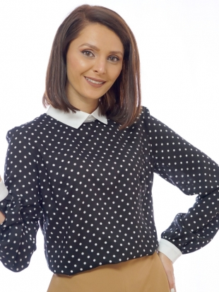 Women's black blouse with white dots 81834-930-100