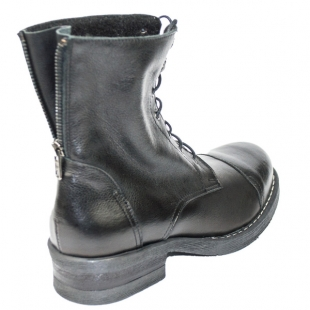 Women's black leather boots with zipper on back side 20456