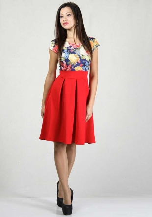 Red skirt with flowers print top dress RUMENA