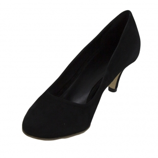 Women's black suede leather shoes with low and thin heels 32845