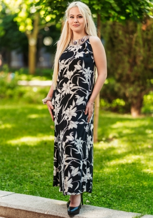 Long dress with colorful motifs with decorative buttons Avangard