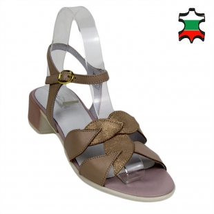 Women's leather sandals with leaves decoration 33735