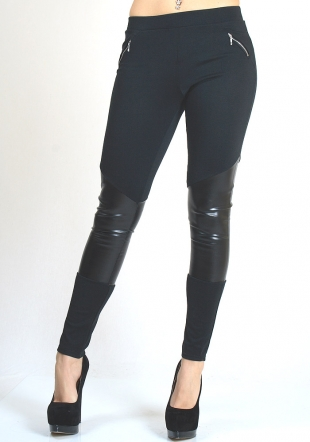 Black Leggings Type Pants with Leather Effect Material RUMENA