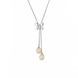 Silver necklace with natural white pearls CAA040 Swan