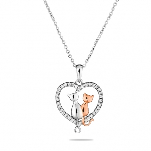 Silver heart and cats pendant necklace with zircons END138N Swan