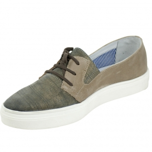 Women's taupe leather mocassins with ties