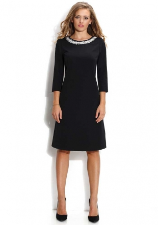 Women's black trapeze silhouette dress with pearls decoraion Avangard