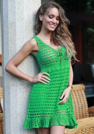 Fine Knited Material Dress in Fresh Green Colour  Z13