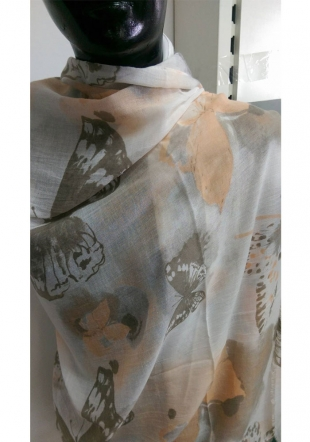 Women's colourful scarf with butterflies PIMAVERA
