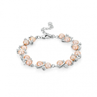 Silver bracelate with pink pearls and zircons FN562BR Swan