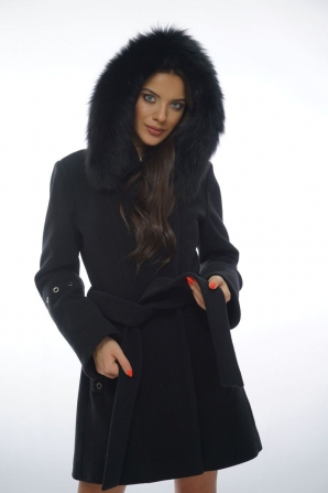 Black women's coat with genuine leather collar Radeks