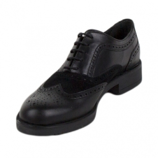 Black women's leather shoes in combination with suede 614-01black