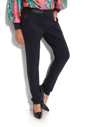 Dark blue trousers with tucks and inserts on belt Avangard