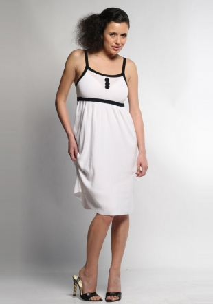 High waist white woven dress-Z-07