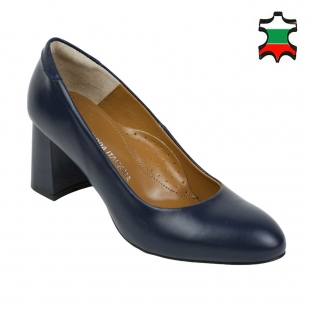 Women's blue leather elegant shoes with duck heels