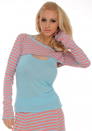 Bolero Blouse and Top in Blue and Tender Pink Z-2011