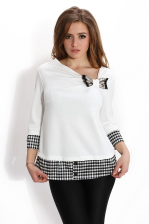 White ladies blouse with a ribbon Avangard