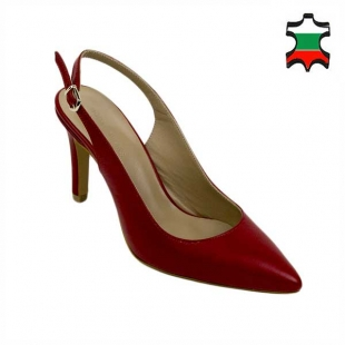 Women's elegant closed toes red heeled sandals 21333