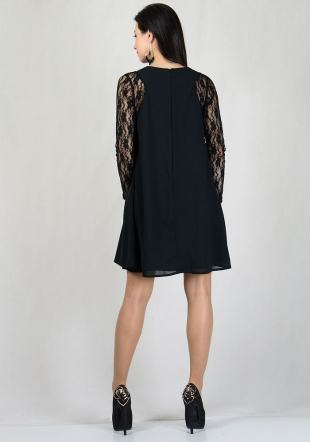 Black chiffon dress with lace sleeves RUMENA